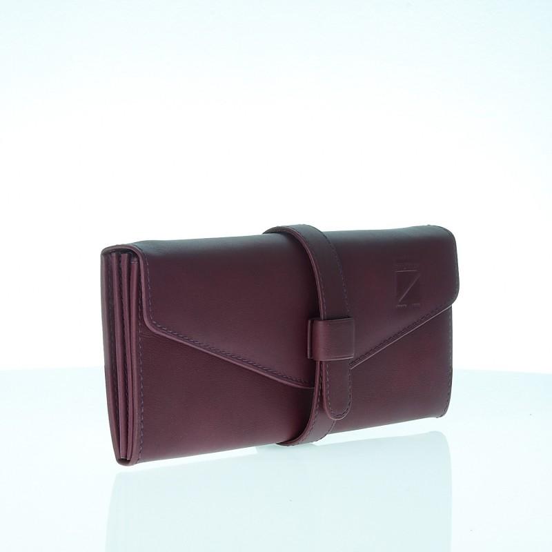 5fbb2cd78578 Grand portefeuille compagnon femme en cuir vert, marron, doré   Baltayan